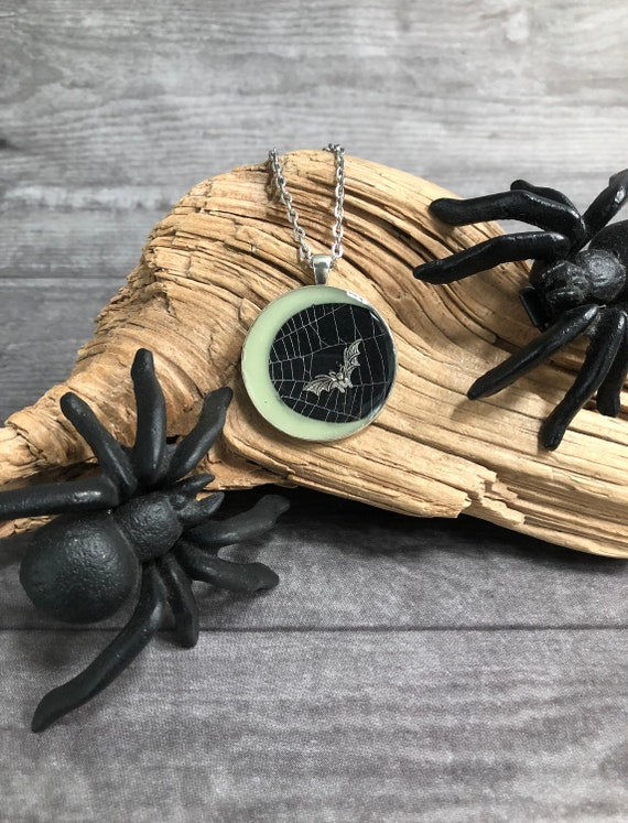 Glow in the Dark,Spider Web Necklace, Spider Web Pendant, Spider Web Jewelry, Moon Jewelry, Crescent Moon Necklace, Moon Phase