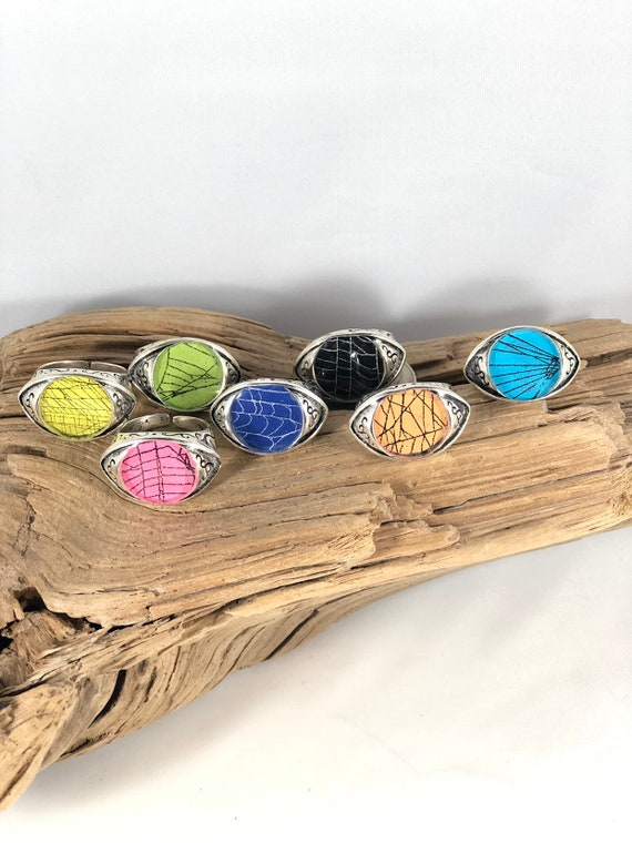 Real Spider Web, Spider Web Jewelry, Real Spider Web Ring, Spider Web Ring, Real Preserved Spider Web, Evil Eye Ring, Spider Web