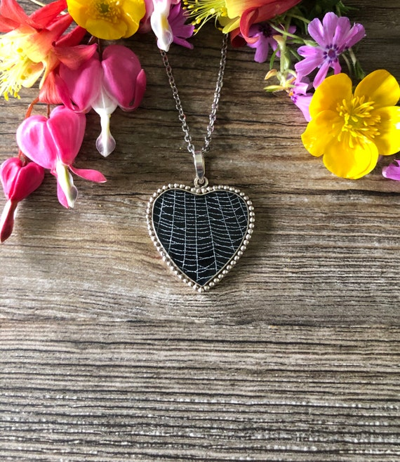 Victorian Necklace, Gothic Pendant, Heart Pendant, Preserved Spider Web, Real Spider Web, Witchy Jewelry, Heart Shaped Pendant