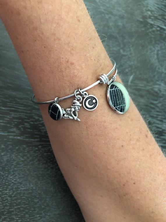 Adjustable Bangle Bracelet, Stainless Steel Bracelet, Charm Bracelet, Spider Web Jewelry, Halloween Jewelry, Crescent Moon Jewelry