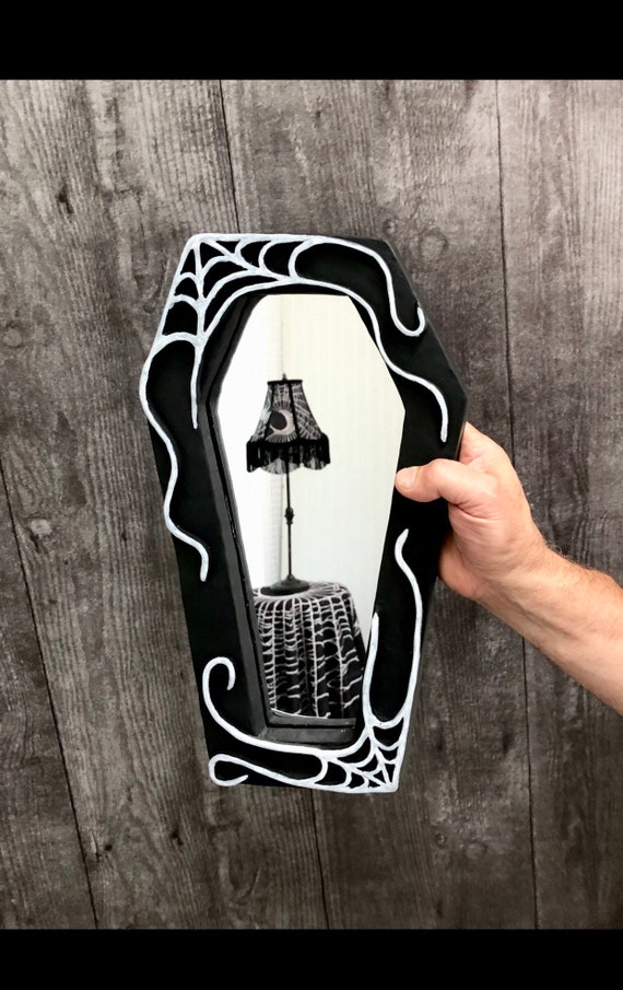 Gothic Frame, Coffin Frame, Black Frame, Witchy Frame, Real Spider Web, Spider Web Taxidermy
