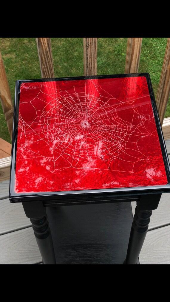 Dark Decor, Spider Web Table, Real Spider Web, Gothic Furniture, Gothic Table, Real Spider Web, Spiderweb Furniture,Cobweb Design