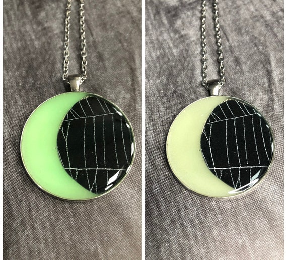 Glow in the Dark,Spider Web Necklace, Spider Web Pendant, Spider Web Jewelry, Moon Jewelry, Crescent Moon Necklace, Real Spider Web