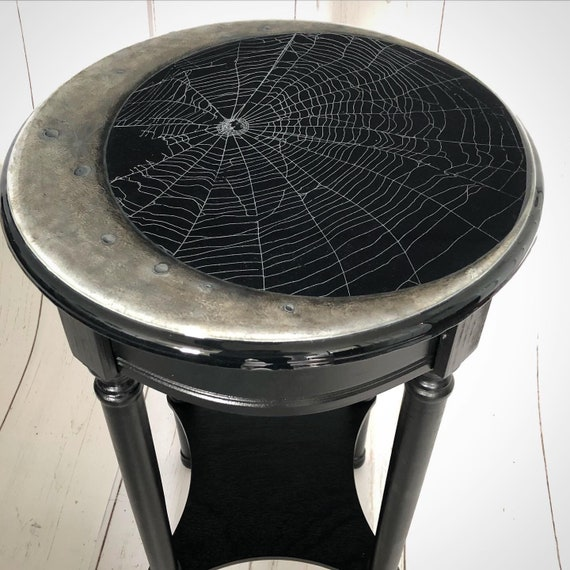 Dark Decor, Crescent Moon, Gothic Furniture, Gothic Table, Witchy Decor, Accent Table, Preserved Spider Web