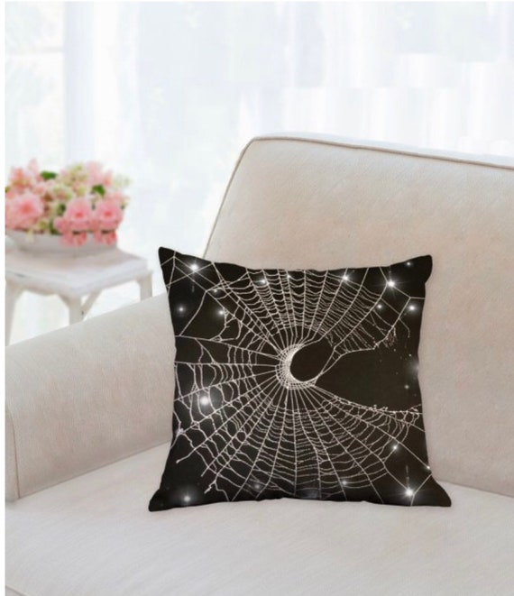Spider Web Pillow, Spider Web, Crescent Moon Pillow, Real Spider Web, Spider Web Art, Pillow, Halloween Pillow, Nature Pillow, Gothic Pillow
