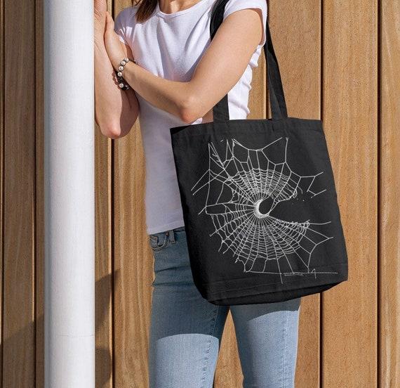 Tote Bag, Spider Web, Black Bag, Gothic Bag, Crescent Moon, HALLOWEEN Bag