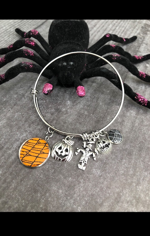 Adjustable Bangle Bracelet, Stainless Steel Bracelet, Charm Bracelet, Spider Web Jewelry, Halloween Jewelry, Witchy Jewelry