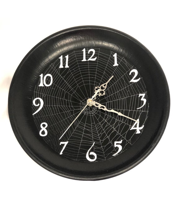 Real Spider Web Clock, Halloween Clock, Clock, Spooky Clock, Spider Web, Wall Clock, Real Spider Web, Halloween Decor