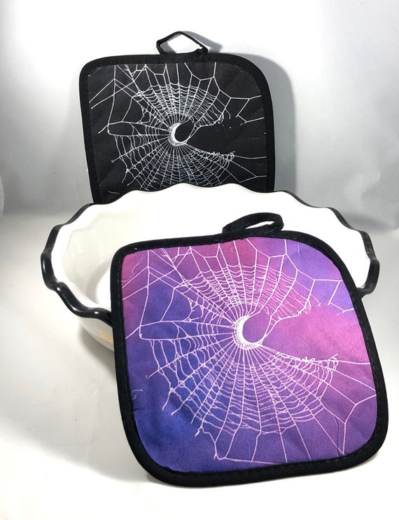Pot Holders, Spooky Kitchen, HALLOWEEN Pot Holders, Spider Web Design, Gothic Home Decor, Crescent Moon Decor