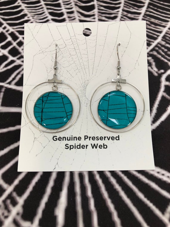 Earring, Spiderweb Earrings, Halloween Earrings, Gothic Earrings, Spider Web Jewelry, Real Spider Web, Earrings from Nature