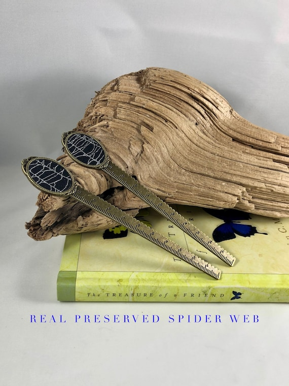 Real Spider Web, Bookmark, Bronze Bookmark, Resin Bookmark, Real Spider Web, Spider Web