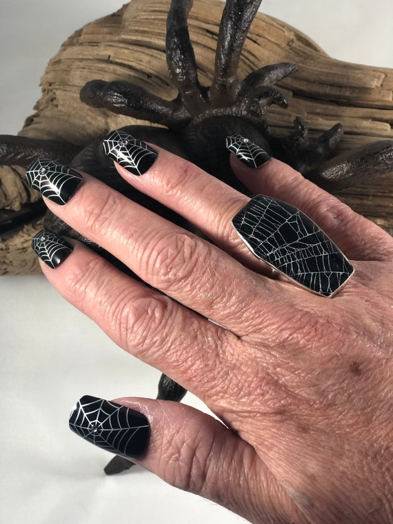 Coffin Ring, Spider Web Ring, Real Spider Web, Spider Web Jewelry, Gothic Ring, Sterling Silver Coffin Ring, Coffin Jewelry,