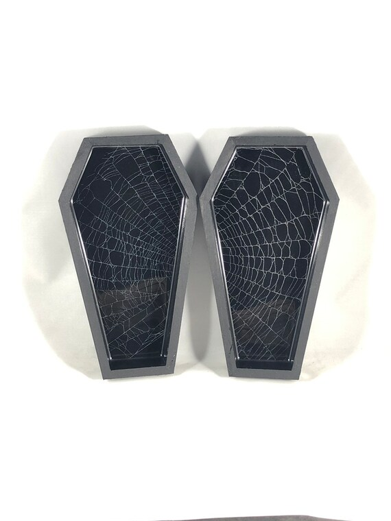 Set of Coffin Boxes, Trinket Box, Real Spider Web, Preserved Spider Web, Coffin Tray, Vanity Set, Make up Tray