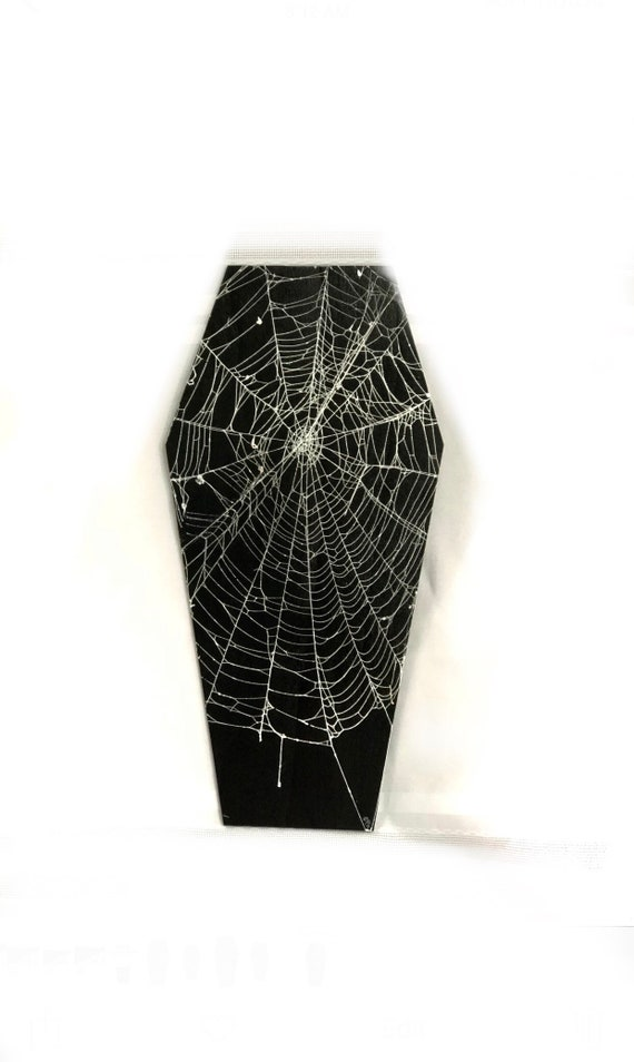Real Spider Web, Coffin Plaque, Coffin, Spider Web Decor, Spider Web Furniture, Preserved Spider Web, Gothic Home Decor