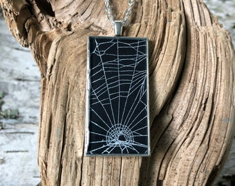 Spider Web Necklace, Spider Web Pendant, Antique Silver Pendant, Gothic Necklace,  Halloween Pendant, Real Preserved Spider Web,  Black