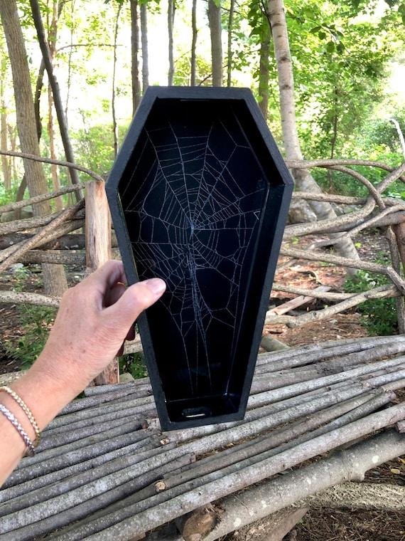 Coffin Box, Trinket Box, Real Spider Web, Preserved Spider Web, Coffin Tray