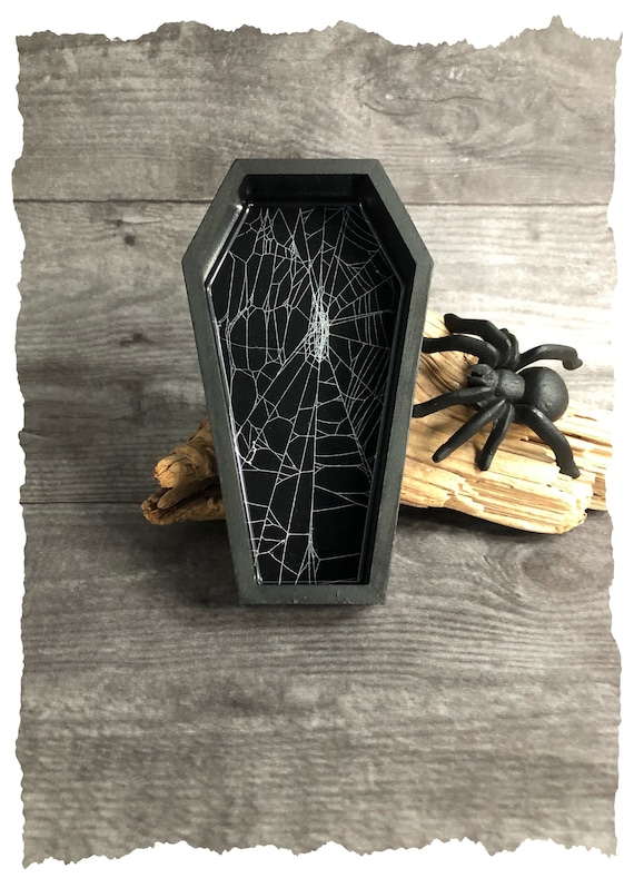Coffin Box, Trinket Box, Real Spider Web, Preserved Spider Web, Coffin Tray, Jewelry Box, Gothic
