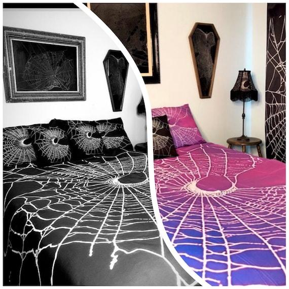 Spider Web Duvet, Black Duvet, Gothic Duvet, Crescent Moon, Gothic Home Decor, Gothic Bedding