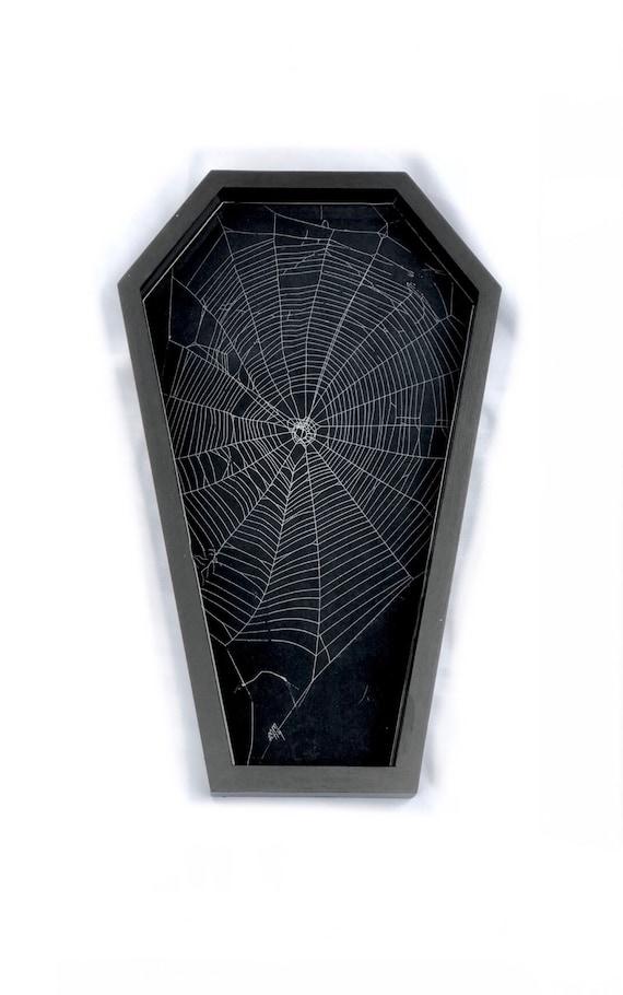 Coffin Decor, Real Spider Web, Spider Web Decor, Gothic Home Decor, Coffin Tray, Coffin Spider Web Tray, Preserved Spider Web