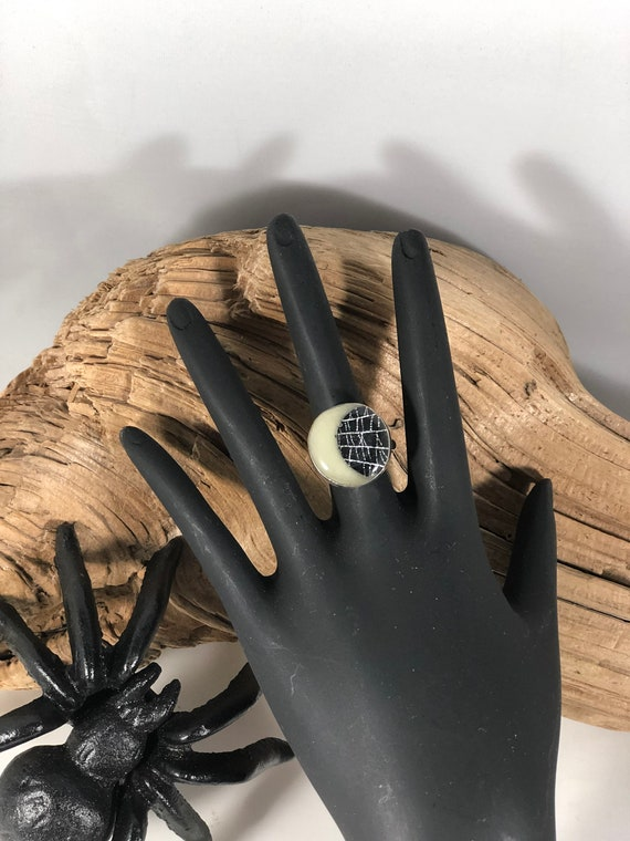 Gothic Ring, Spider Web Ring, Real Spider Web, Crescent Moon Jewelry, Sterling Silver Ring, Witchy Jewelry, Glow in the Dark