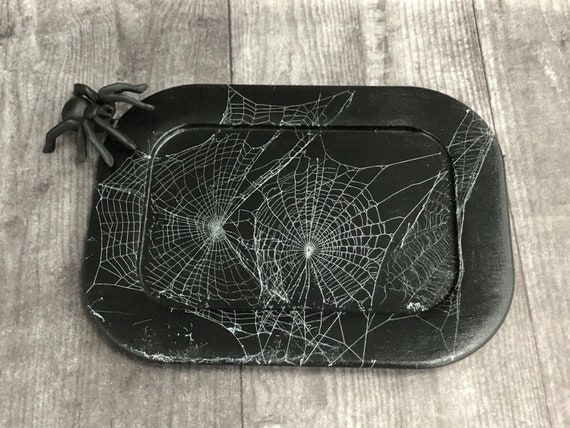 Serving Tray, Black Serving Tray, Real Spider Web, Gothic Home Decor