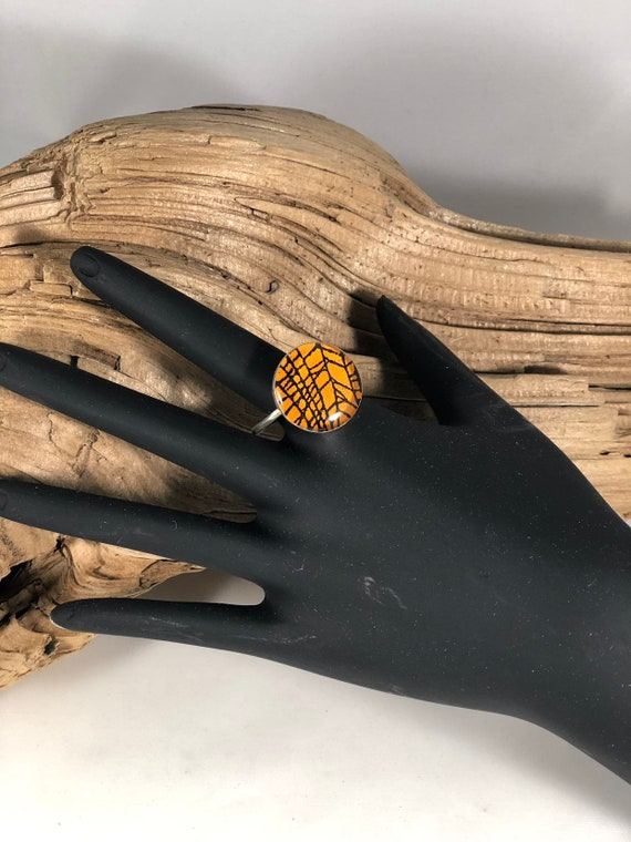 Gothic Ring, Spider Web Ring, Real Spider Web, Spider Web Jewelry, Sterling Silver Ring, Sterling Ring, Halloween Ring, Orange Ring
