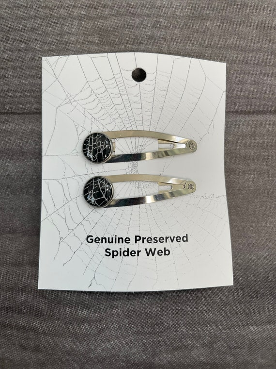 Hair Clips, Spooky Hair Accessories, Halloween Jewelry, Hair, Spider Webs, Real Spider Web