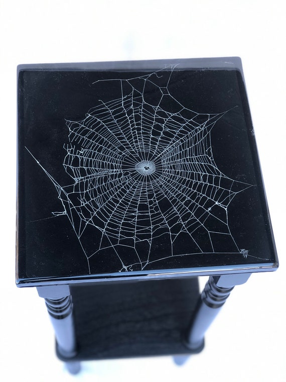 Side Table,Spider Web Table, Real Spider Web, Gothic Furniture, Gothic Table, Spider Web Furniture, Cobweb Design