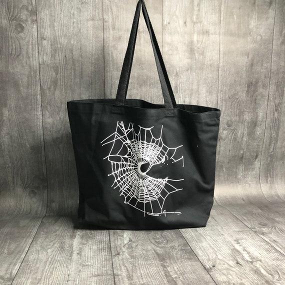 Tote Bag, Spider Web Design, Black Bag, Gothic Bag, Crescent Moon Design, HALLOWEEN Bag, Reusable