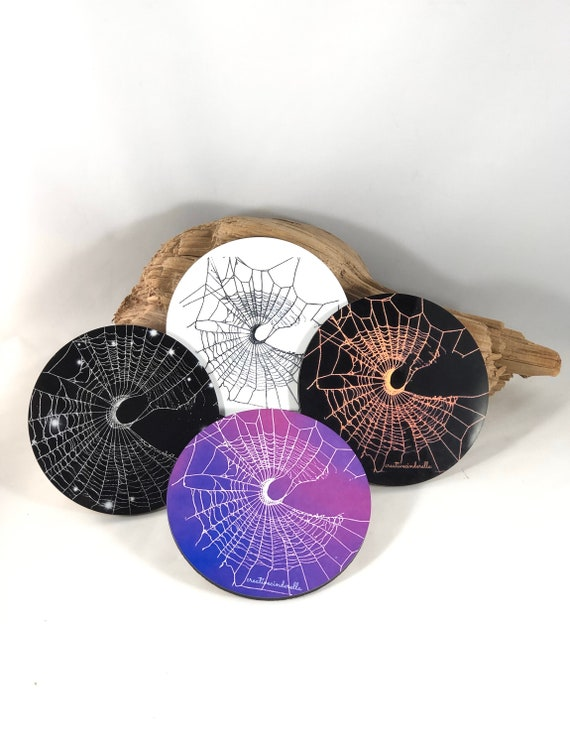 Coasters, Spider Web Coasters, Spider Web, Unique Coasters, Gothic Home Decor, Crescent moon, Halloween Decor