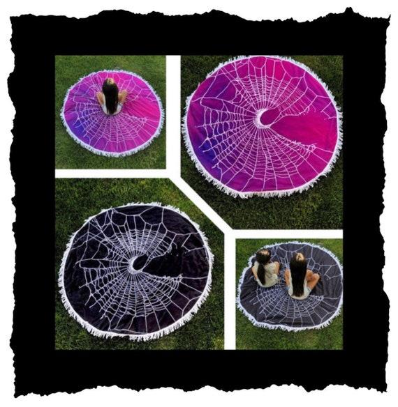 Round Beach Towel, Spiderweb Design, Crescent Moon design, Yoga Matt, Gothic Home Decor, Dark Aesthetic,Picinic Blanket, Black Towel,