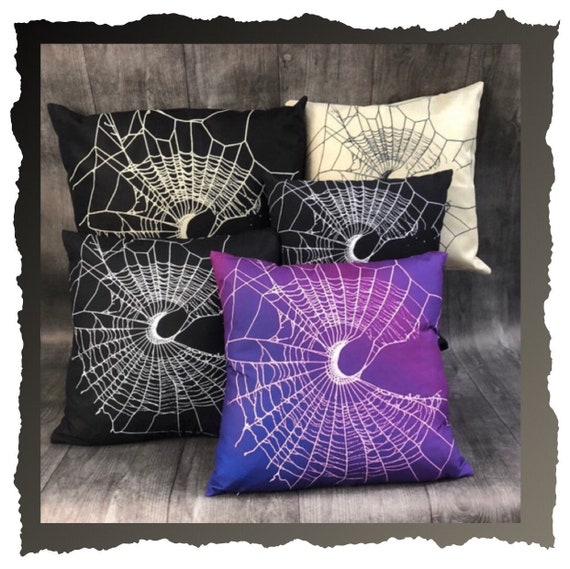 Spider Web Pillow, Spider Web, Gothic Home Decor, Black Pillow, Crescent Moon Design, Halloween Home Decor, MoonWeb Collection, Black Pillow