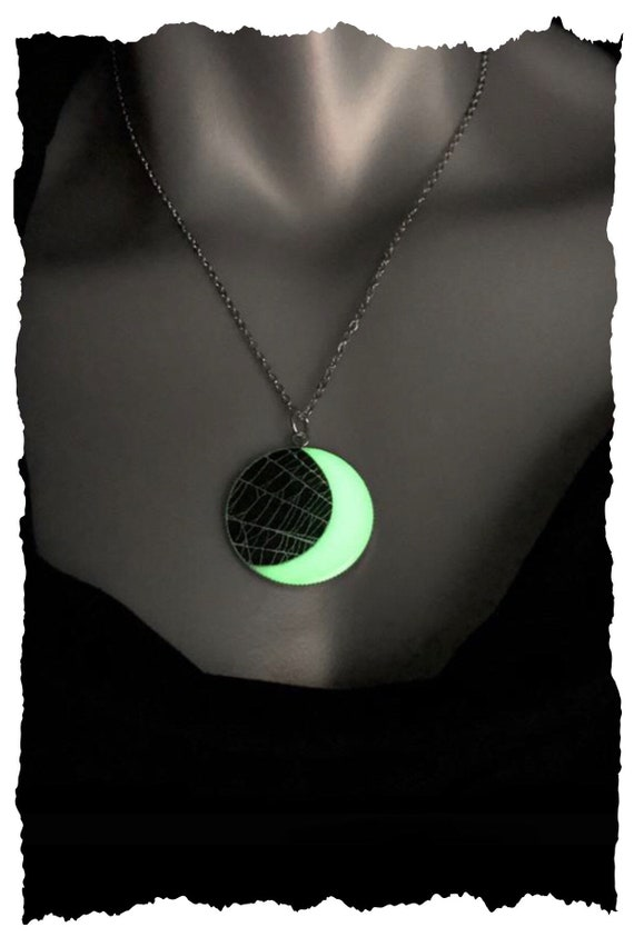 Spider Web Necklace, Glow in the Dark, Spider Web Pendant, Spider Web Jewelry, Crescent Moon Necklace, Real Spider Web