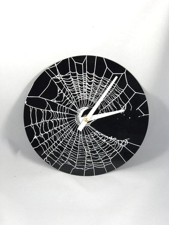 Black and White Clock, Spider Web Clock, Gothic Clock, Unique Clock, Spooky Clock, Gothic Decor