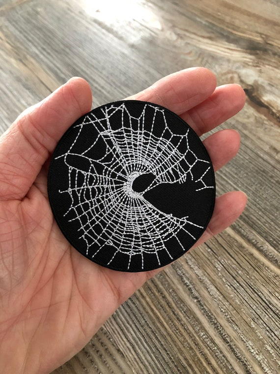 Spider Web Patch, Black Cobweb Patch, Iron on Patch, Embroidered Patch, Gothic Patch