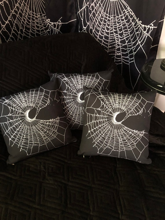 Spider Web Pillow, Spider Web, Home Decor, Gothic Home Decor, Black Pillow, Pillow