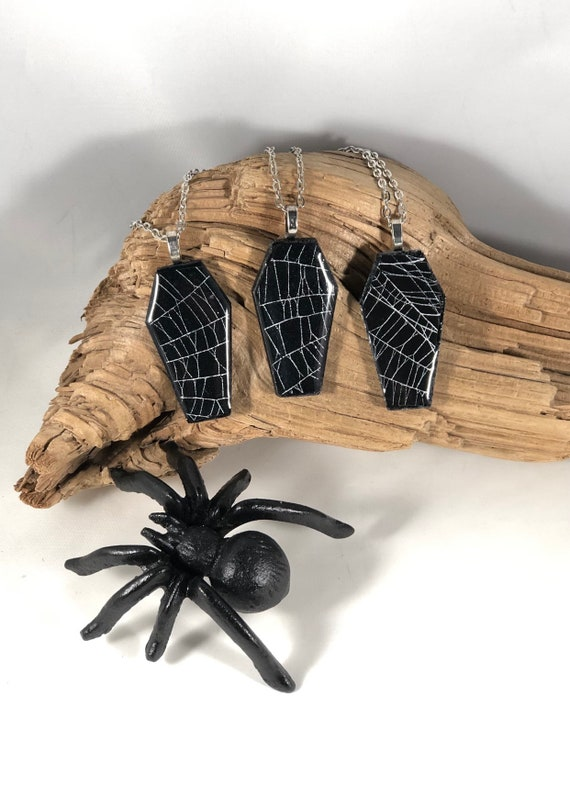 Coffin Jewelry, Real Spider Web, Spider Web Jewelry, Spider Web Necklace, Macabre Jewelry, Witchy Jewelry, Gothic Jewelry
