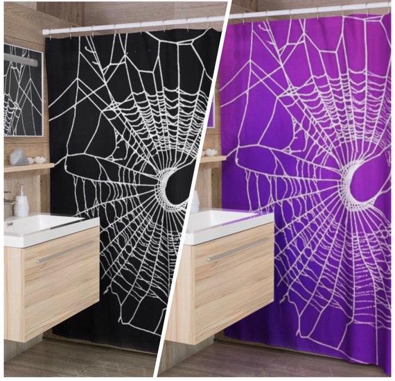 Shower Curtain, Gothic Shower Curtain, Spider Web Shower Curtain , Black Shower Curtain, Gothic Home Decor