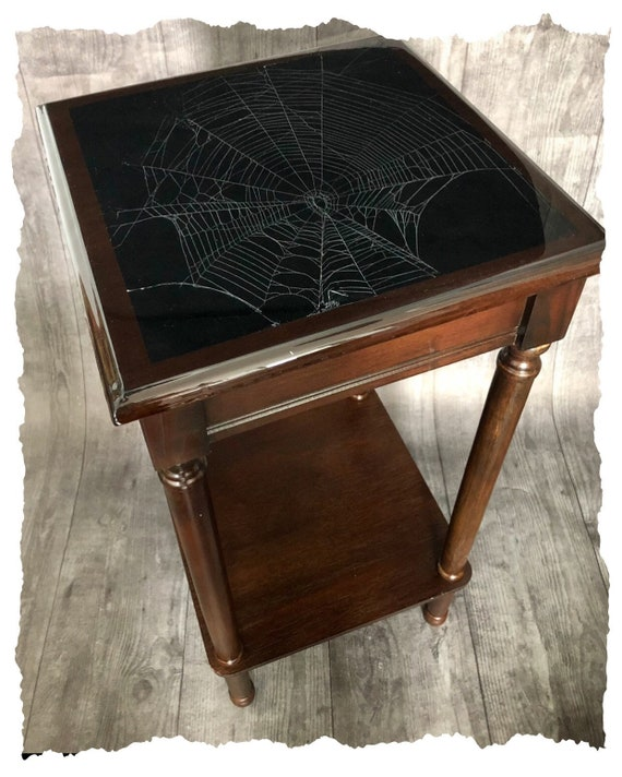 Dark Decor, Spider Web Table, Real Preserved Spider Web, Gothic Furniture, Gothic Table, Spider Web, Witchy Decor, Accent Table