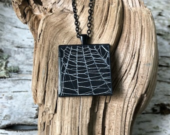 Spider Web Necklace, Spider Web Pendant, Gothic Necklace,  Halloween Pendant, Real Spider Web, Spider Web Jewelry, Preserved Spider Web