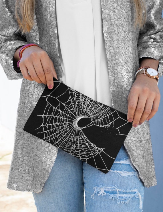 Makeup pouch, Spider Web Design, Cobweb Design, Zipper pouch, Pocketbook, Accessories clutch, Gothic Style