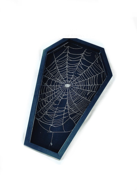 Coffin Decor, Real Spider Web, Spider Web Decor, Gothic Home Decor, Coffin, Coffin Spider Web, Preserved Spider Web