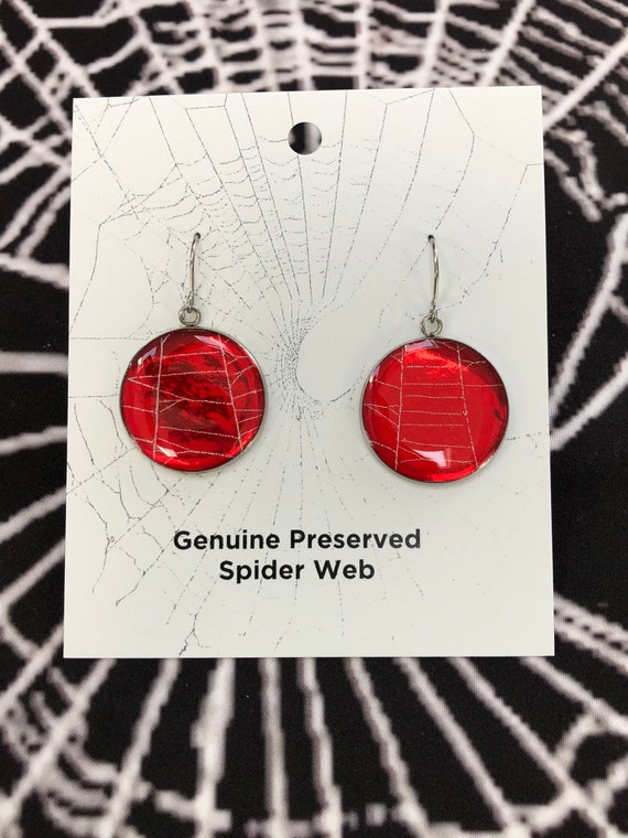 Earrings , Spiderweb Earrings, Halloween Earrings, Gothic Earrings, Spiderweb Jewelry, Real Spiderweb, Earrings from Nature