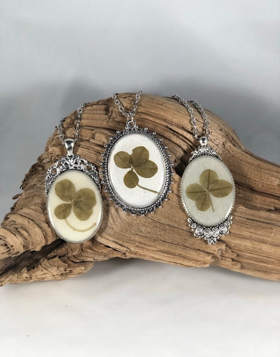 Shamrock, Real Four leaf clover Necklace, Four Leaf Clover Pendant, St. Patty's Day, Real Four Leaf Clover Jewelry, Jewelry from Nature
