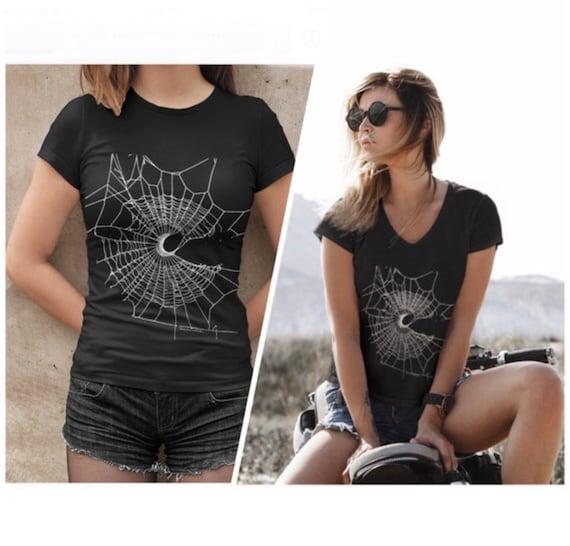 MoonWeb T-Shirt, V-Neck Shirt, Gothic T-Shirt, Black Shirt, Witchy Women Tees, Witchy T-Shirt