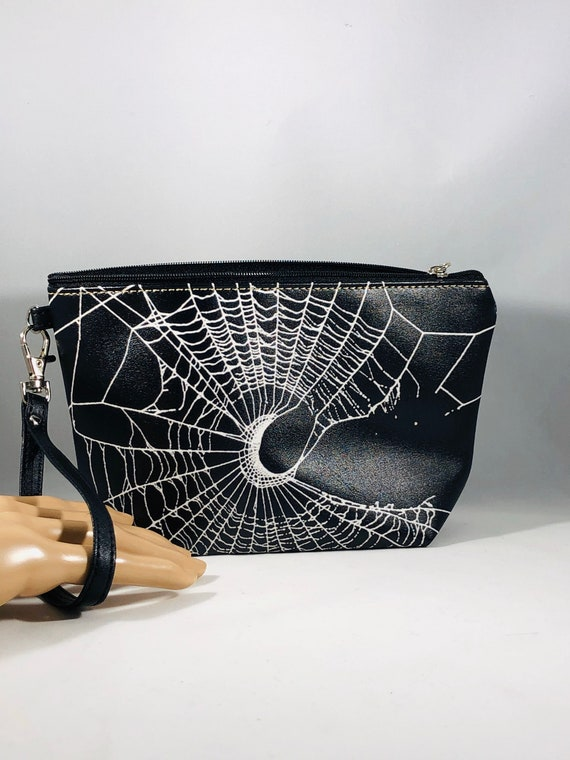 Wristlet, Spider Web Wristlet, Gothic Purse, Black Wristlet Purse, Gothic Make Up Bag