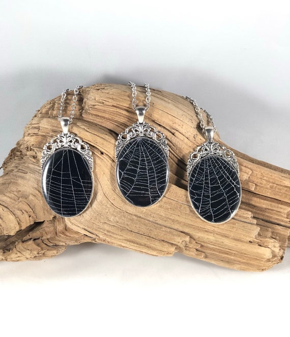 Spider Web Necklace, Spider Web Pendant, Silver Oval Pendant, Gothic Necklace, Spider Web Jewelry, Preserved Spider Web