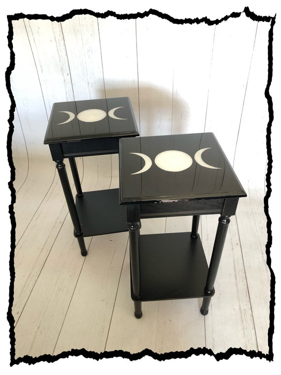 Dark Decor, Crescent Moon, Gothic Furniture, Gothic Table, Witchy Decor, Accent Table, Triple Moon, Moon