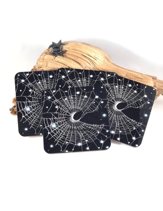 Coasters, Spider Web Coasters, Spider Web, Unique Coasters, Halloween Coasters, Crescent moon, Halloween Decor
