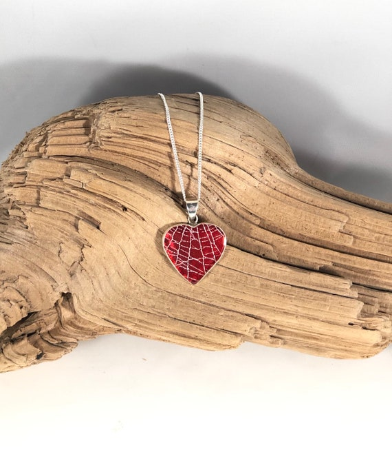 Real Spider Web Pendant, Red Heart Pendant, Preserved Spider Web Jewelry, Real Spider Web, Sterling Silver Jewelry, Sterling Silver Heart